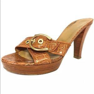 Stuart Weitzman croc embossed slide on Heels 8.5